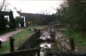 1208. Lock 15, Deepcut. Cottage. Bisley railway Bridge. Pre-restoration REDUCED
