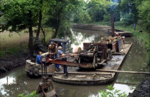 The Perseverance dredger, tug and mud barges working near Barley Mow, 1980